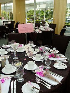 decoração de mesa de casamento marrom e rosa
