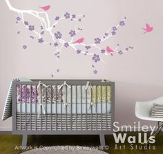Cherry Blossom Branch and Birds  decal