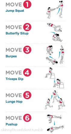 A great example of interval training: Complete each exercise for as many reps as you can within 60 secs followed by a 30 sec rest, then move on to the next move. Do the circuit 3-4 times for a fantastic fat-burning workout.