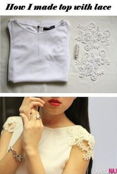 Add lace sleeves to a white tank!