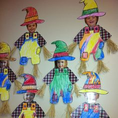 These scarecrows with student photos are adorable.
