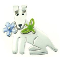 Dog w/ Forget Me Not Flower Enamel & Silver Pin