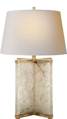 Cameron Table Lamp in Quartz with Natural Paper Shade