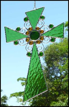Green Stained Glass Cross Sun Catcher  by StainedGlassDelight, $37.95