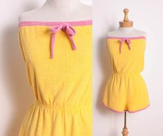 Vintage 70s Yellow Terry Cloth Romper