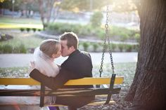 Ceremony in #Baylor's Miller Chapel & pictures on love swing!