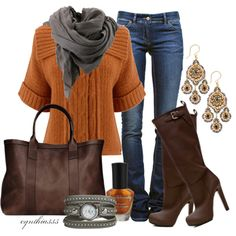 Bring on fall - love the pumpkin colored sweater!