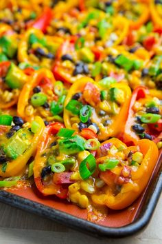 Mini Pepper Nachos with Corn, Black Beans and Avocado