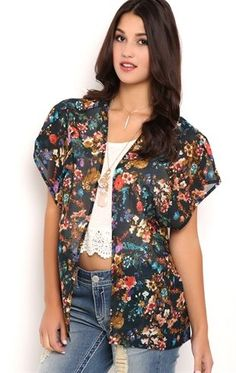 Deb Shops Short Sleeve Watercolor Floral Print Kimono with Strap Back $15.00