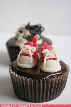 Here Sis- go ahead and make these the theme for the shower, ha ha! They're so cute, and that doesnt happen much with boy's shoes!