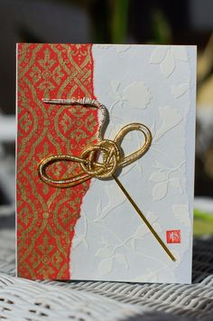 Exquisite, Handcrafted, Japanese Washi Paper Greeting Cards with Mizuhiki Cord Cranes.