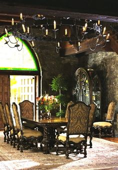Marge Carson Segovia Dining, I'm not sure if this is Tuscan or Old World Spanish, but either way, it's an incredible dining space.