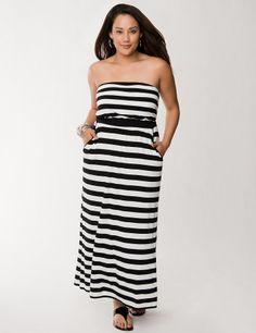 Striped Maxi Tube Dress by Lane Bryant