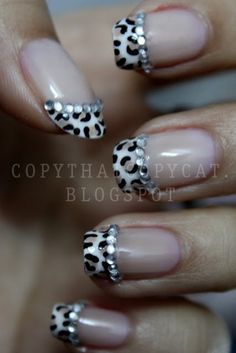 Leopard French Nails