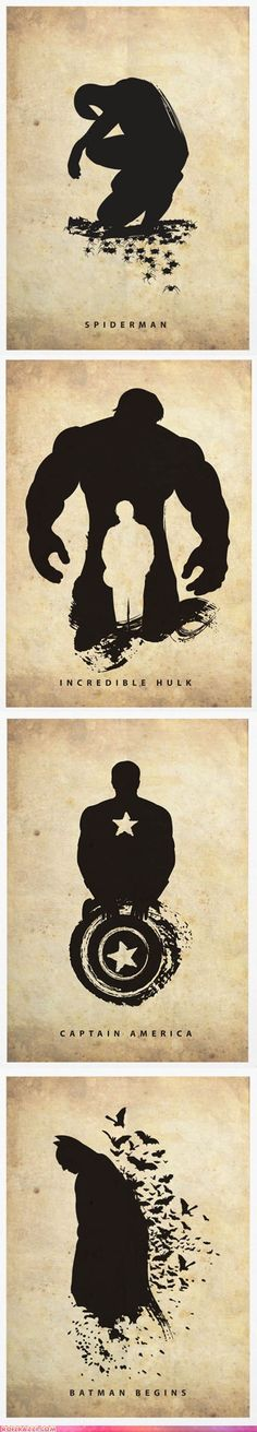 Silhouetted Posters of Superheroes
