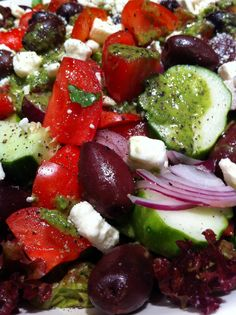 GREEK SALAD with GREEK DRESSING,Cooking The Amazing