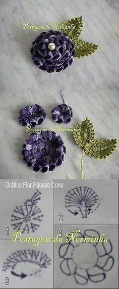 Orgulerim crochet on facebook. Flowers, cone petals