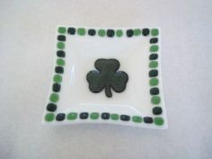 DISH - Sparkle Irish Shamrock Square Fused Glass Dish, Soap Dish, Valet, Ring Keeper. $16.00, via Etsy.