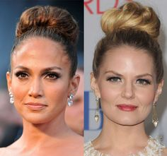 Jennifer Lopez y Jennifer Morrison, duelo de looks: ¿quién lleva mejor el moño alto? Descubre más duelos de belleza en http://www.elle.es/belleza/belleza-vip/duelo-de-looks