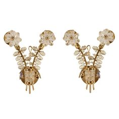 Pair French Crystal Sconces