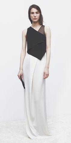 3.1 Phillip Lim | Holiday 2013 | Ivory & Black layered silk gown : Minimal + Classic