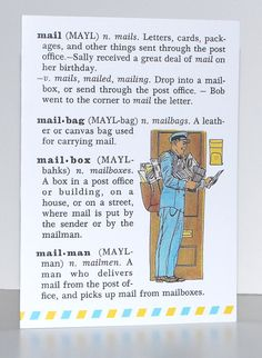 mailman card  definition from vintage dictionary  by Craftgasm