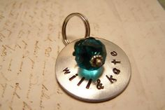 Something Blue Bouquet Charm Handstamped