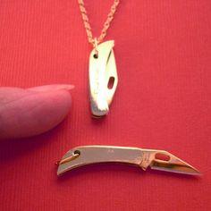 Tiny Folding Knife Necklace for my redneck girls...