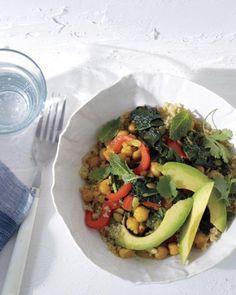Saffron Chickpeas and Bitter Greens with Quinoa Recipe