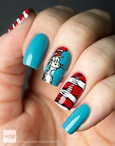 cats, girls nails, nail polish, nail designs, book week, nail arts, dr suess, snow white, hat