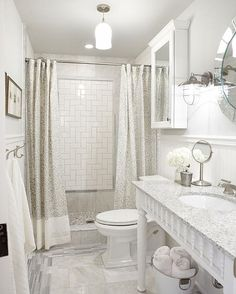 A Modest Vanity | Sarah Richardson Design ....love the tile in the shower!