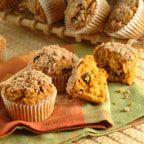 Crumble-Top Pumpkin Muffins - Hot from the oven these streusel-topped muffins are scrumptious.