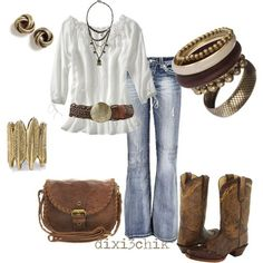cowgirl boots, outfits, fashion, cowboy boots, cloth, style, country girls, belt, old navy