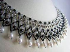Beaded Collar Necklace Black White Silver Netted by BeadfulStrings, $76.00