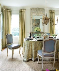 Love the curtains with trim and the chairs and mirror   http://clunygrey.blogspot.com