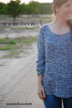 Shoreline Boatneck by Blank Slate Patterns sewn by Dandelion Drift in a gray sweater knit - great comfy casual outfit for winter or fall.