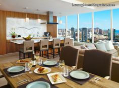Stunning penthouse in Honolulu, Hawaii! #decor #decorating #ideas #design #interior #dining #room
