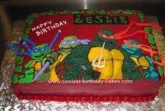 Homemade Teenage Mutant Ninja Turtle Cake: This Homemade Teenage Mutant Ninja Turtle Cake  is a quarter sheet cake. We colored the red buttercream a day before so the color would intensify.  We've