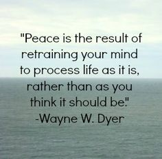 Peace is the result of retraining your mind to process life as it is, rather than as you think it should be.