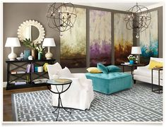 Turquoise ottoman in new living room.