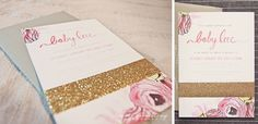 Adorable baby girl invitations
