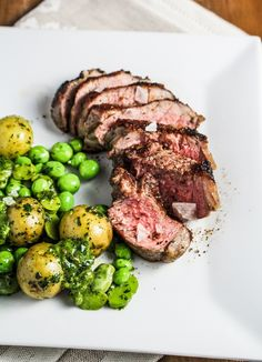 Grilled Lamb with Fava Beans, Sweet Peas, and Mint Chutney