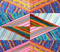 "Faux Diamond quilt by Jan Krentz:  a class at AQS - Des Moines.  October 2013. Create ""faux"" diamond blocks using striped fabrics."