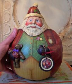 Santa Gourd- One of a kind Gourd, Paper clay created by FOLK ART BY PENNY by lela