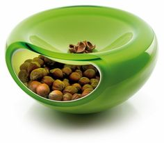 Bowl where you can put the snack and shells in a separate places.
