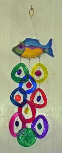 Mardi Gras Fish Glass Wind Chime