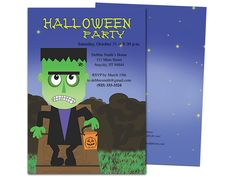 frankenstein halloween party invitation template