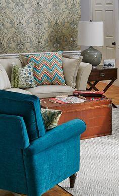 Peacock blue armchair