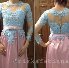 Pinky blue kebaya dress