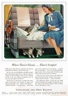 """Where There's Chessie, There's Comfort'"" ""Chessie"" mascot for the Chesapeake and Ohio Railway, 1948"